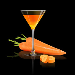 Carrot juice and fresh carrot isolated on black background