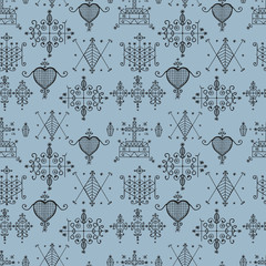 Seamless pattern with Voodoo spirits symbols.
