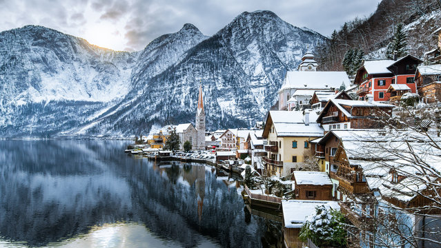Winter View Of Hallstatt , Hallstatt , Austria