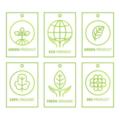 Vector green set of labels in linear style for organic products, food and cosmetics.