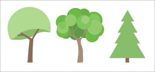 Beautiful picture of the variety of trees, vector illustration