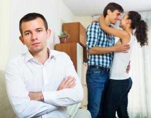Ex-lover watching girlfriend leaving him