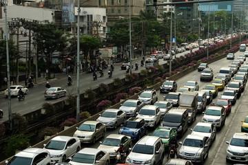 Traffic jam on Sathorn Road in Bangkok.