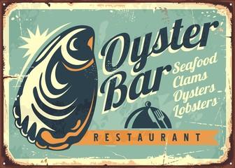 Oyster bar creative retro sign design template