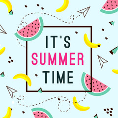 Vector of bright summer cards. Beautiful summer posters with watermelon, bananas and text. Memphis.Journal cards.