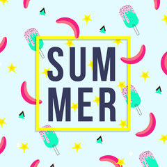 Vector of bright summer cards. Beautiful summer posters with watermelon, ice cream, bananas and text. Memphis. Journal cards.