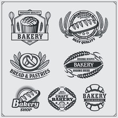 Set of Bakery labels, badges, emblems and design elements. Vintage style.