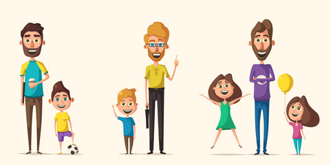 Dad and children character. Cartoon vector illustration
