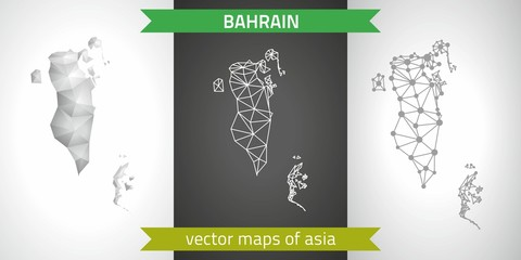 Bahrain set of grey and silver mosaic 3d polygonal maps. Graphic vector triangle geometry outline shadow perspective maps