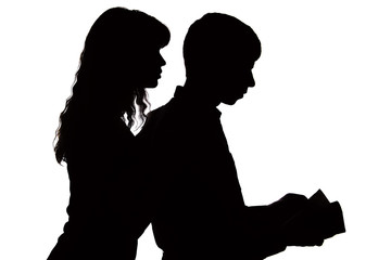 The silhouette of a woman controlling the salary of a family and peering into the wallet
