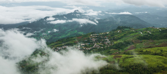 Good morning mist Road on mountain at Phu Thap Boek , Thailand