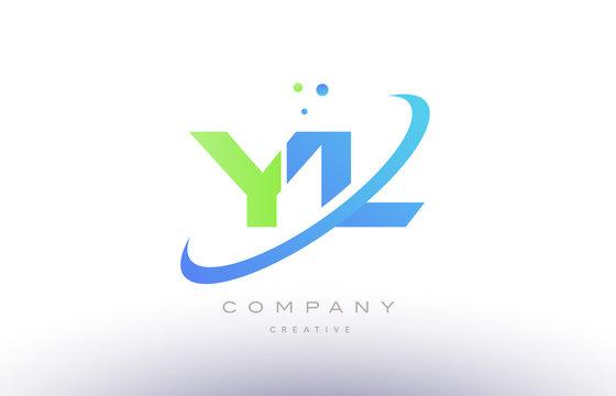 yl y l alphabet green blue swoosh letter logo icon design