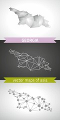 Georgia  collection of vector design modern maps, gray and black and silver dot contour mosaic 3d map