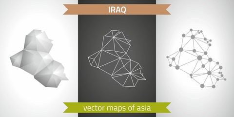 Iraq set of grey and silver mosaic 3d polygonal maps. Graphic vector triangle geometry outline shadow perspective maps