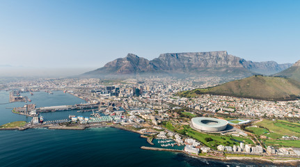 Cape Town (aerial view from a helicopter) with the stadium in the focus