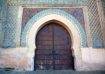 Bab Mansour Gate decorated with impressive zellij (mosaic ceramic tiles). Meknes, Morocco, Africa
