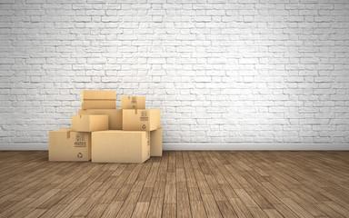 Cardboard boxes in empty room. 3d rendering