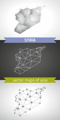 Syria collection of vector design modern maps, gray and black and silver dot contour mosaic 3d map