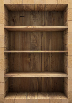 Blank wooden bookshelf. 3d rendering