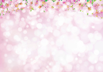 Vector blossoming branches of  tree border, spring background, blurred effect.