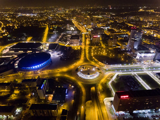 Obraz Noc Katowice miasto - fototapety do salonu