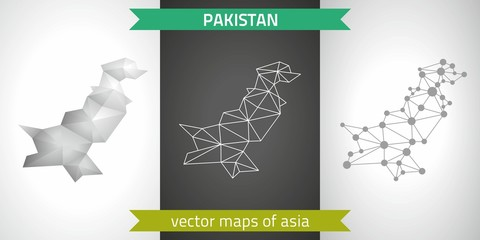 Pakistan collection of vector design modern maps, gray and black and silver dot contour mosaic 3d map