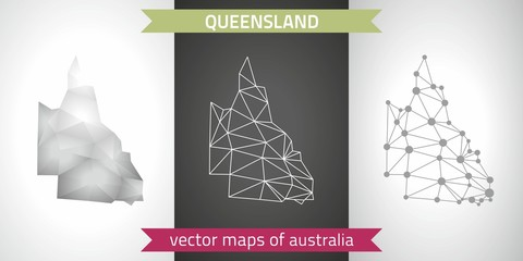 Queensland collection of vector design modern maps, gray and black and silver dot contour mosaic 3d map