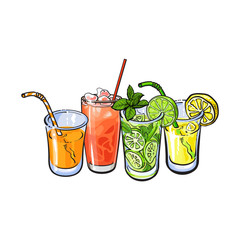 Orange, grapefruit, lemon, lime juice with ice in glasses, sketch style vector illustration on white background. Hand drawn glass of grapefruit, orange, lemon, lime juice, cocktail, lemonade with ice