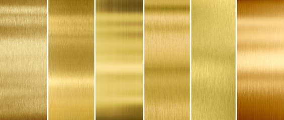 Wall Mural - Gold or brass brushed metal textures set
