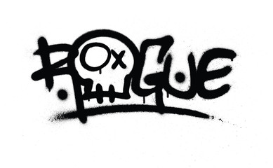 graffiti sprayed rogue tag in black over white