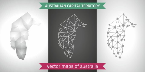 Australian Capital Territory  set of grey and silver mosaic 3d polygonal maps. Graphic vector triangle geometry outline shadow perspective maps
