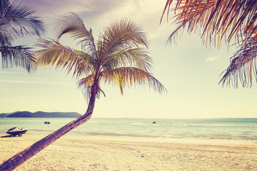 Beautiful tropical beach, color toning applied, Thailand.