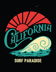 California vintage print.Surf graphic.