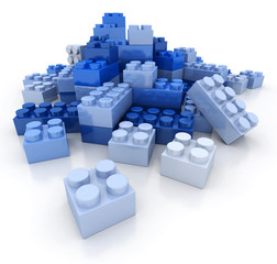 Plastic bricks blue