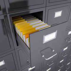 Open file cabinet drawer