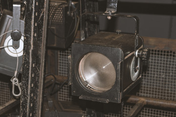 Old Projectors. Retro Equipment Theater Stage Image Concept.