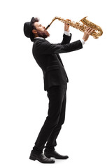 Man playing on a saxophone