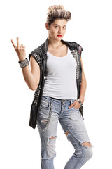Punk girl making peace sign and looking at the camera