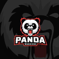 Panda Warriors Abstract Vector Sign, Emblem or Logo Template. Sport Team Mascot Label. Angry Bear Face with Typography.