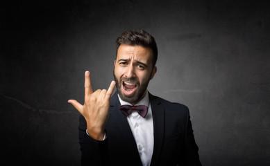 elegant man rock gesture