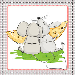 A little mouse with a friend eating a big piece of cheese
