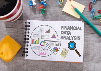 Financial data analysis concept on a notepad