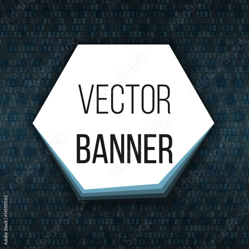 Hexagonal banner with layers  Button on dark techno