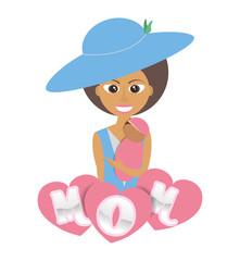 mom holding baby lovely poster vector illustration eps 10