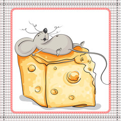 Very happy the mouse lies on a huge piece of cheese