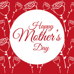 happy mothers day poster with roses flower decoration vector illustration eps 10