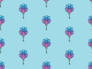 Holiday seamless pattern with multicolor air balloons. Design concept for gift cards, birthday greeting cards, festival decoration.