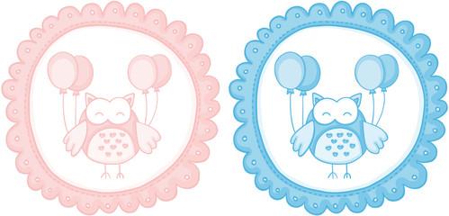 Baby owl baby shower sticker labels
