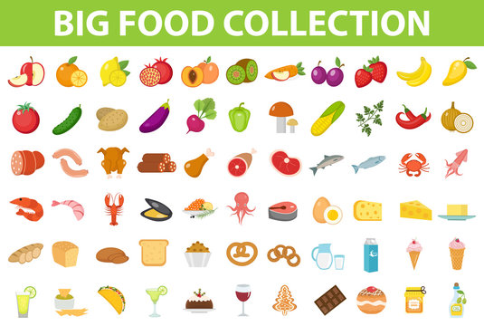 Big set icons food, flat style. Fruits, vegetables, meat, fish, bread, milk, sweets. Meal icon isolated on white background Ingredients collection Vector illustration