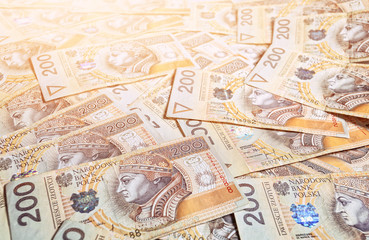 Background from Polish 200 zloty banknotes